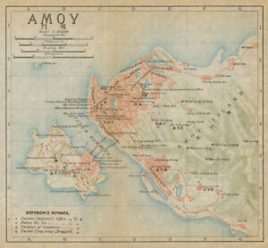 Amoy Xiamen Antique Town City Plan China 1915 Old Map Chart Ebay