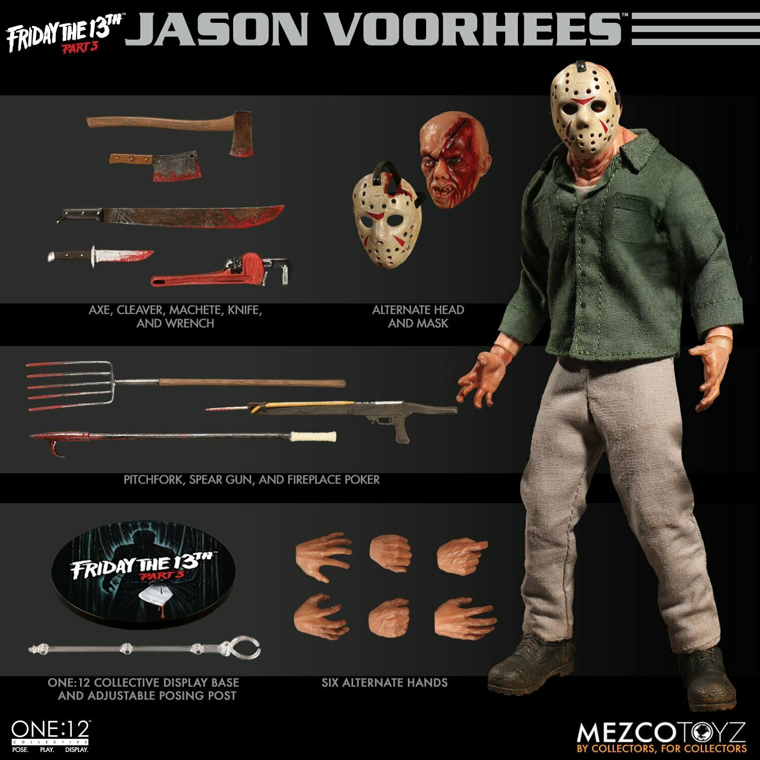 Mezco Toys One 12 Collective  Friday the 13th Part 3 Jason Voorhees Figure
