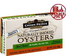 Crown Prince Natural Smoked Oysters in Pure Olive Oil, 3oz - 6 Pack