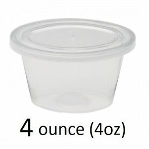 100 X Strong 4oz Clear Plastic Containers With Lids Deli Sauce