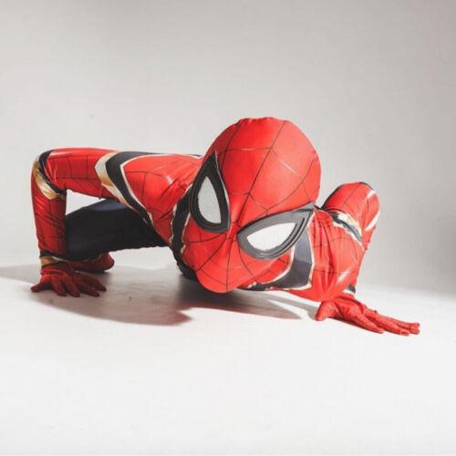 Adult Kids Boys Iron Spiderman Cospaly Costume Superhero 3D Print Zentai Suit