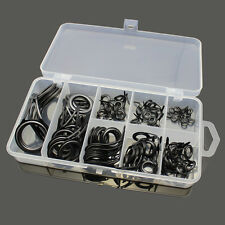 US 75 Stainless Steel 8 VARIOUS SIZE Fishing Rod Guide Tip Repair Kit Eye Rings