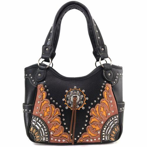 Justin West Concho Damask Western Floral Pattern Conceal Carry Handbag Purse