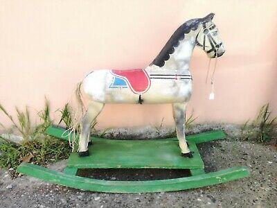 Cavallino A Dondolo Legno Antico Giocattolo D'epoca Anni '60 - Antique Toy Horse