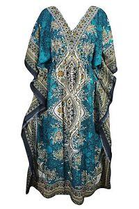 Women-Long-Kaftan-Caftan-Maxi-Dress-Blue-African-Night-Gown-Hippies-Teal
