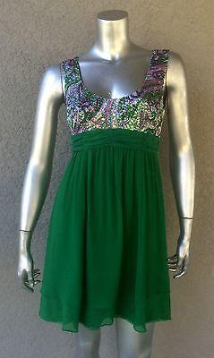 NANETTE LEPORE Green Silk Floral Sequin Babydoll Cut Out Dress $375