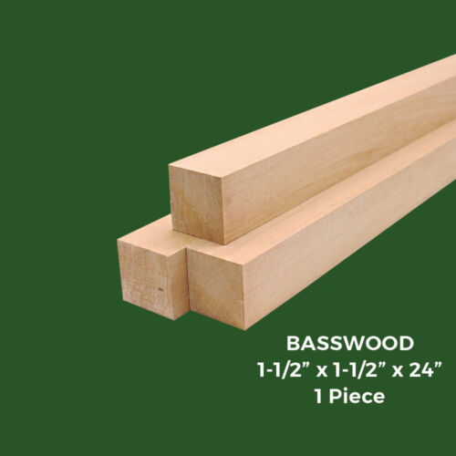 """Carving//Whittling Wood Block 1-1//2/""""x1-1//2/""""x24/"""" American Basswood Turning Blank"""