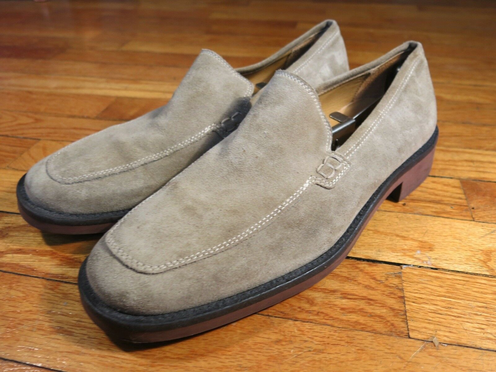 J Crew Made  Men's 11 Tan Beige Sand Suede Apron Toe Loafers Slip On shoes
