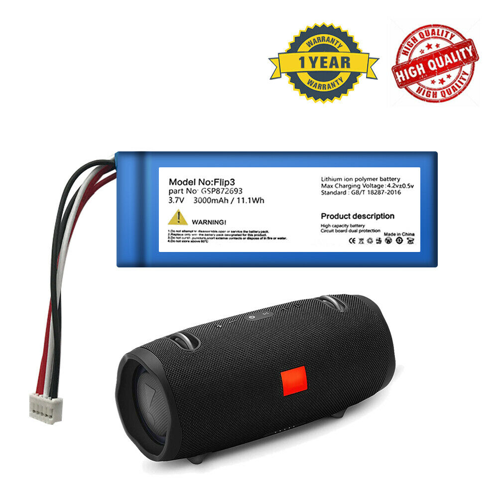 3000mAh GSP872693 Battery Replacement For JBL Flip 3 Portable Bluetooth Speaker