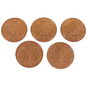 5x 5 Cent Pièces En Cours A D F G J Allemagne 2014 Rfa Euro Riche Et Magnifique