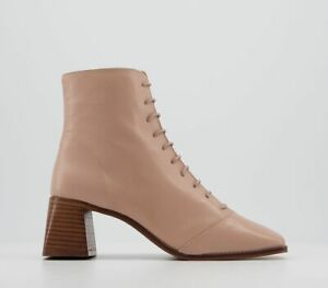 Womens Office Ariella Lace Up Boots Biscuit Leather Boots