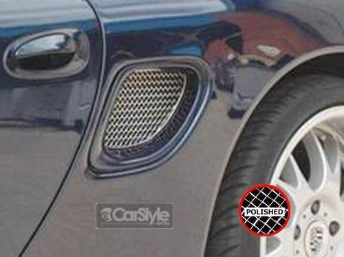 ZunSport Porsche Boxster  986 1999-2002 Polished Steel Mesh Side Vent Grille Set