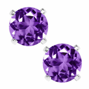14K-GOLD-AMETHYST-2-86-CARAT-ROUND-SHAPE-STUD-PUSH-BACK-EARRINGS-5mm-80-SALE