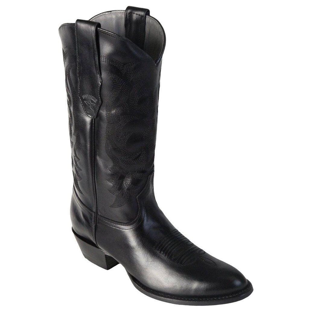Men's Los Altos Negro Genuino Cuero tire para arriba botas de vaquero occidental D Punta rojoonda