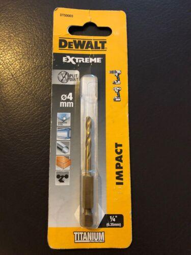 DEWALT EXTREME DT50003 4 mm HSS-G Impact Drill Bit Tige Hex Neuf Titane version