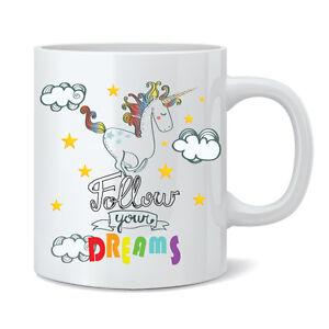 Follow Your Dreams Unicorn 11oz Ceramic Mug Cup - Funny Novelty Gift Tea Coffee
