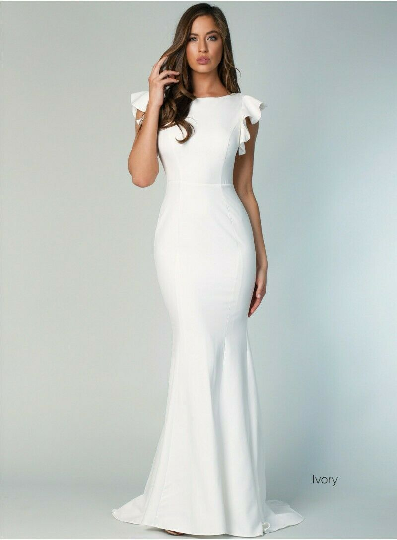 Samantha Rose Holly Flutter Sleeve Bridal Gown In Ivory - Size 8 (Australian)