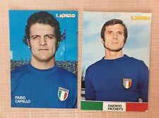 2 CARTOLINE CALCIO 1974 FACCHETTI INTER FABIO CAPELLO ROMA JUVENTUS - VIAGGIATA