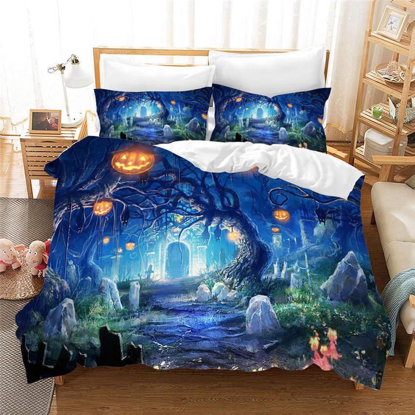 Pumpkin Lantern 3D Printing Duvet Quilt Doona Covers Pillow Case Bedding Sets