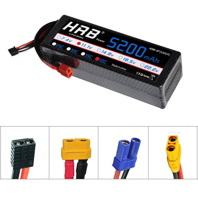 HRB 3S 11.1V 5200mAh 50C 100C Hardcase LiPo Battery for Traxxas Car Truck Drone