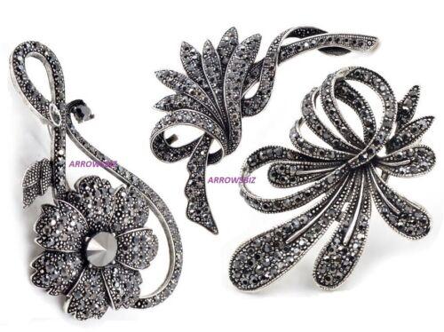 Black Series Flower Brooch Broach Pin Large Alloy Rhinestone Diamante UK Stock