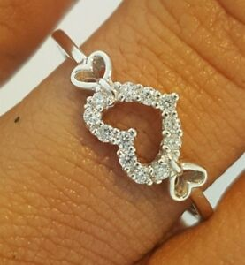14K-Solid-White-Gold-0-25-ct-Diamond-Heart-Shaped-Ring-Promise-Ring