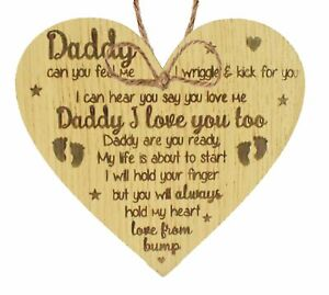 Details about Oak Handmade Heart From Bump Gifts For Men Daddy To Be  Birthday Father Son Baby
