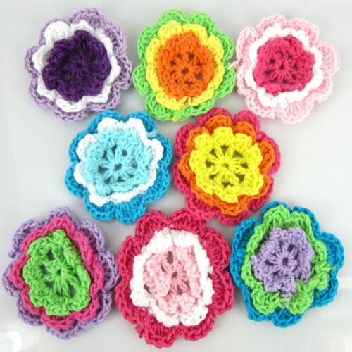 40Pcs Mix Handmade Crochet Fleur Appliques pour Coudre bordure scrapbooking 4.5 cm