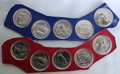 2014 America the Beautiful Quarter P /& D 10 Coin Set UNC