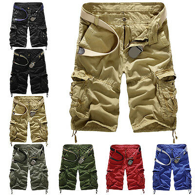 Men Army Cargo Combat Camo Camouflage Overall Shorts Sports Pants