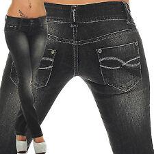 Designer Damen Jeans Hüfthose Hose Bootcut Schwarz W29/L32 Gr. 36S 40cm Bund Neu