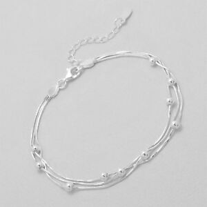 Genuine-925-Sterling-Silver-Chain-Ball-Bracelet-Chain-Bracelet-Women-Girls