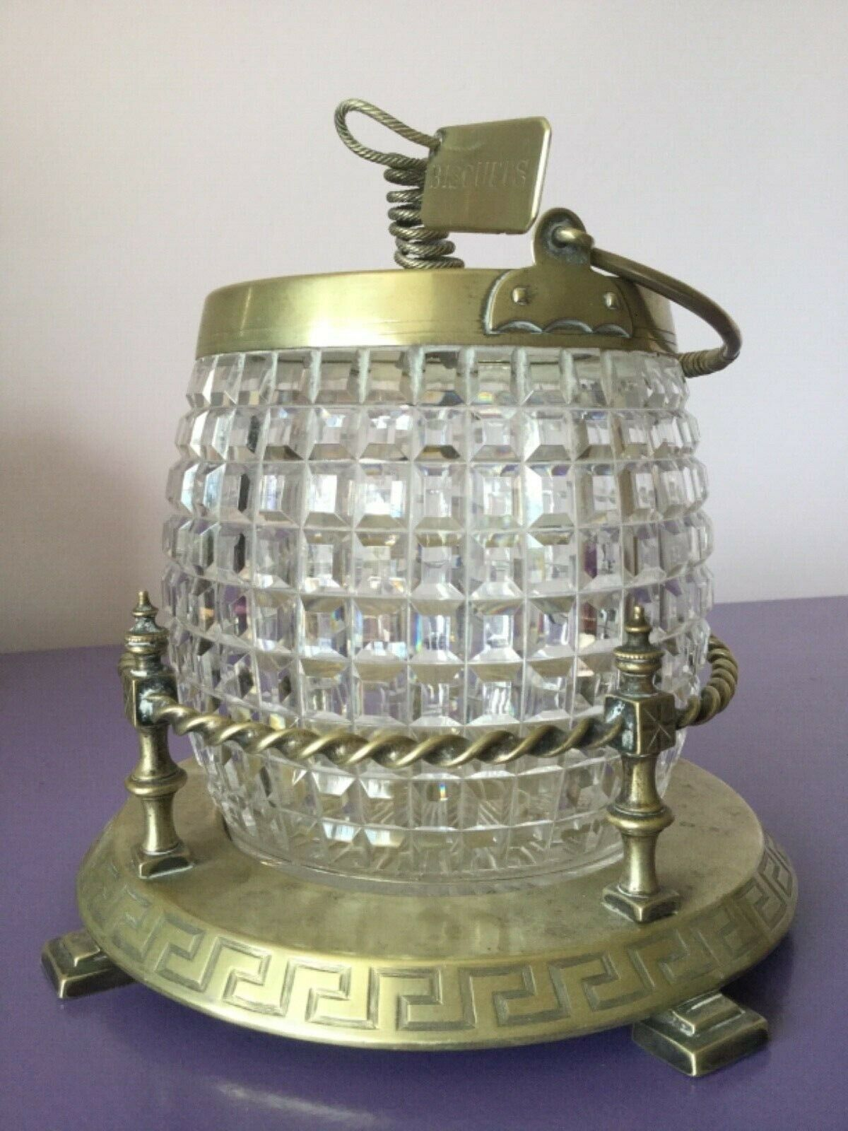 Hermosa vintage. Plata & Cristal Tallado Galleta Barril. Tea Caddy, Tarro De Dulce