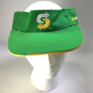 Green Subway Visor Hat Cap Sandwich Crew Genuine Employee Uniform BRAND NEW!