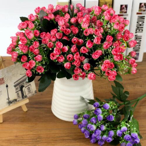 ARTIFICIAL SILK FLOWERS BUNCH Wedding Home Grave Outdoor Bouquet 36HEADS NP2X