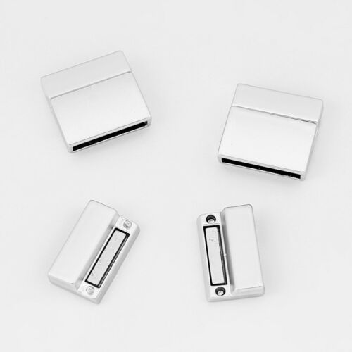 5Sets Matte Silver Strong Magnetic Clasp For Up To 20*3mm Flat Leather Cord