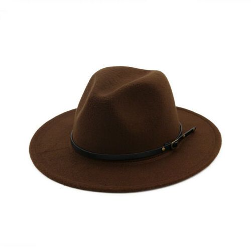Women/'s Wool Felt Outback Hat Panama Hat Wide Brim Women Belt Buckle Fedora Hats