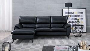 Details about 2 PC Modern Black Genuine Leather Sofa Chaise Living Room  Sectional Set