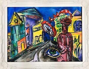 Margarita-Bonke-Malerei-Zeichnung-painting-City-Stadt-surrealismus-Glueckspilz-A3