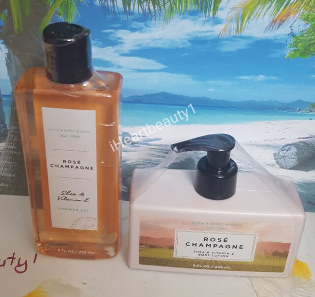 bath and body work rose champagne shower gel and body lotion set
