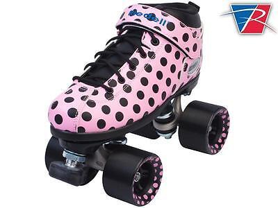 Riedell Pink Polka Dot Dart Quad Roller Derby Speed Skates + FREE Skate Bag!