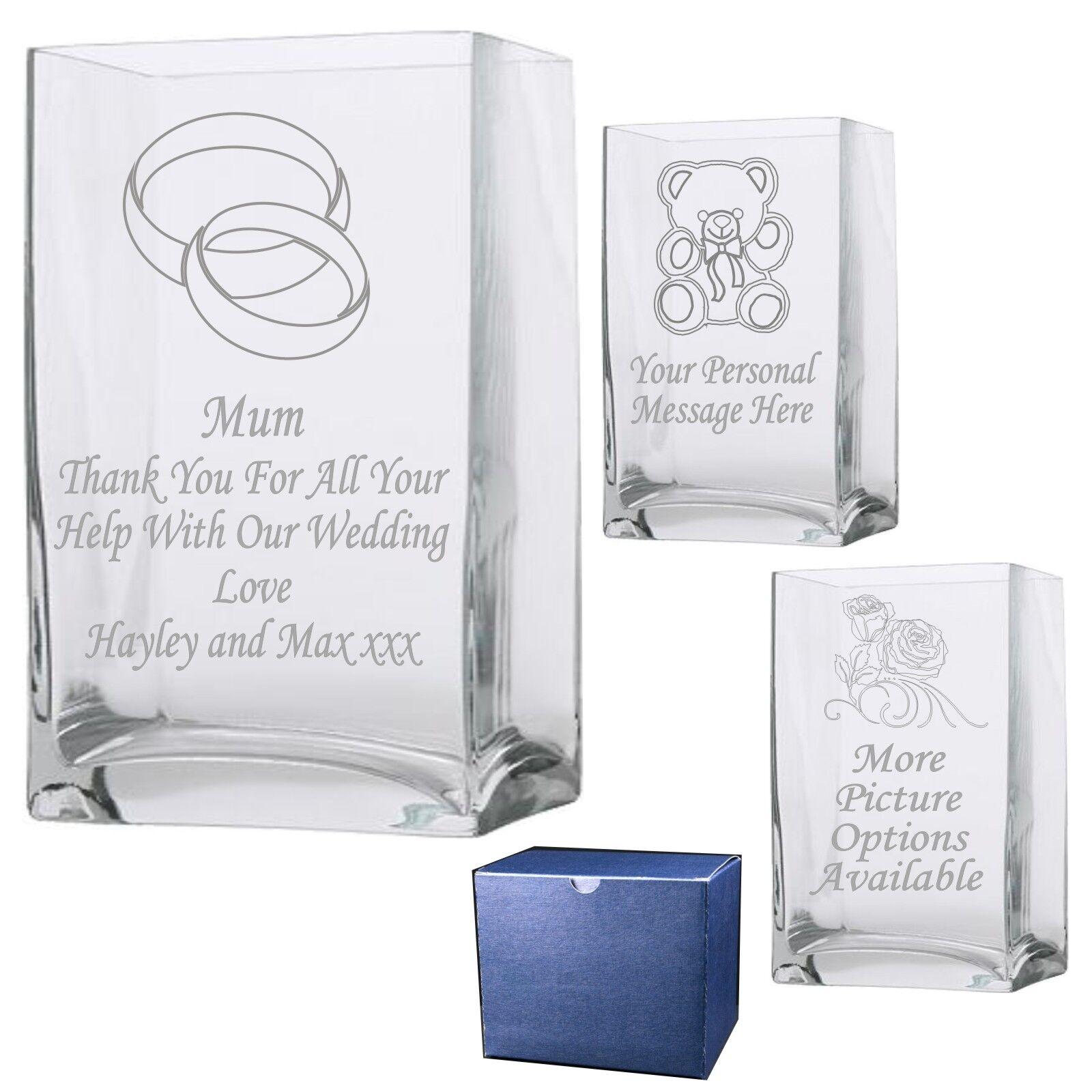 Vase rectangle gravé vous remercier de Mariage-Mariée et Marié Cadeau