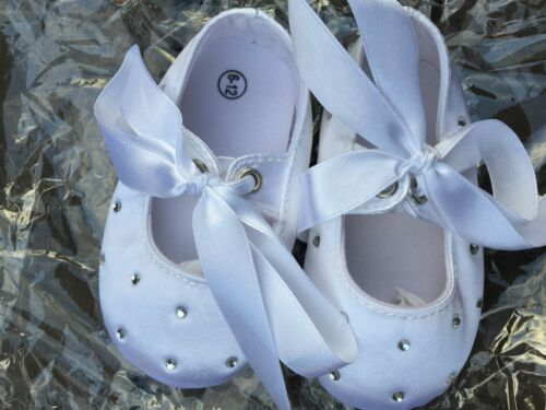 Baby Shower Girls Children Kids Christening Ballet White Satin Lace Gem Shoes
