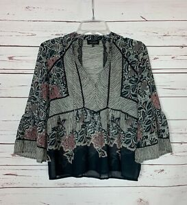 Lucky Brand Women's S Small Black Pink Floral 3/4 Sleeves Cute Spring Blouse Top