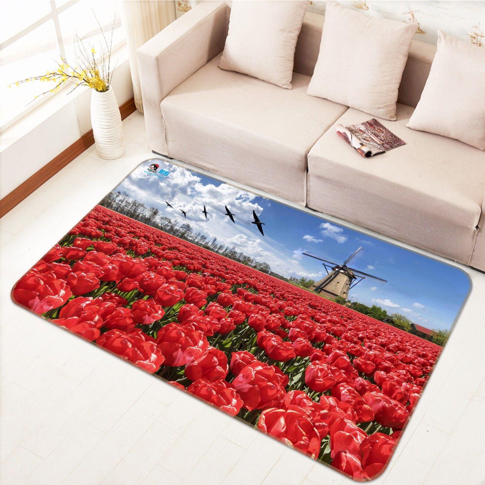 3D ROSSO TULIPANI campo 45 tappetino antiscivolo tappeto camera Tappetino Qualità Elegante foto Tappeto UK