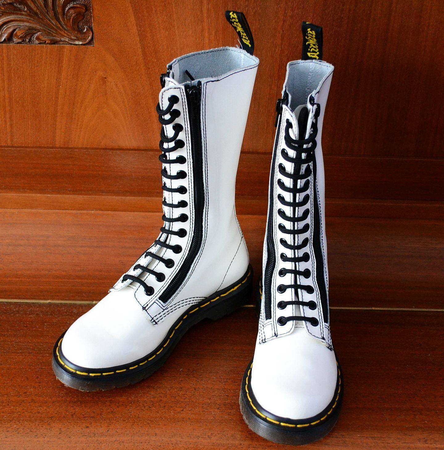 Dr. Martens 9733  W Wouomo bianca High 14 eye hole zip stivali, UK 3   EU 36  caldo