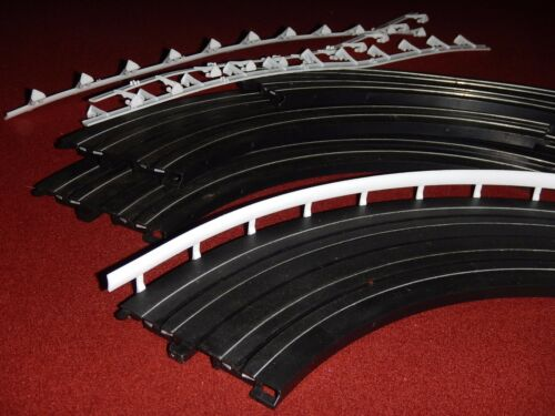 "4pc ea Life-Like 9/"" Curve Track with white plastic Railing HO Scale Slot Car"