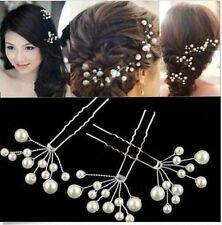Set Of 3 - Pearl Flower Hairpins Hair Pin Bridal Wedding Prom Hair Pins