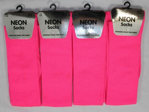 Ragazze NEON luminosi sopra il ginocchio coscia alta Calze Fancy Dress Party 12-3 Taglia 4-8