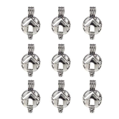 5x Silver Cute Mini maison salle Pearl Cage Médaillon Pendentif Huile Essentielle Diffuseur